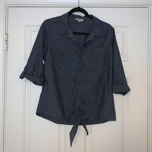 LOFT navy button up tie blouse - Size MP